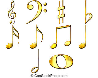 3D Golden Music Notes