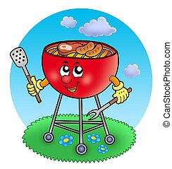 Cartoon barbeque in garden - color illustration.