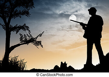 Hunter - An early morning hunter silhouette illustration