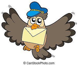 Owl postman with letter - isolated illustration.