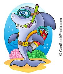 Shark scuba diver on sea bottom - color illustration