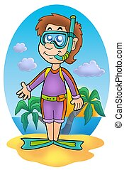 Snorkel diver on beach - color illustration
