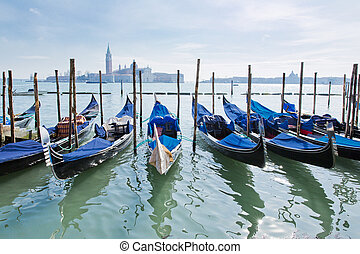 Venice, Italy - Gondolas on Grand Canal and San Giorgio...