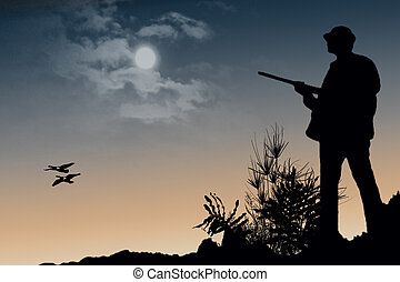 Hunter - A silhouette illustration of a hunter