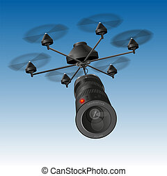 Drone Camera - Drone or unmanned aerial vehicle (UAV) with...