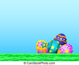 Softball Easter Eggs in Grass - Easter eggs sitting in the...