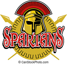 spartans design with helmet