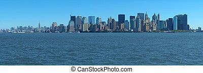 manhattan panorama - blue manhattan panorama photo taken...