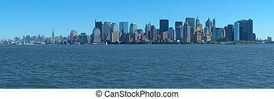 manhattan panorama - blue manhattan panorama photo taken...