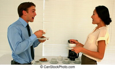 Business people having coffee - Business people having...