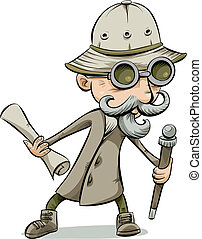 Retro Explorer - An old-fashioned cartoon explorer holding a...