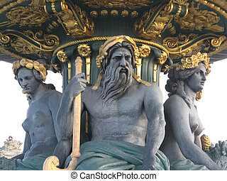 Concorde square fountain in Paris - three statues of the...