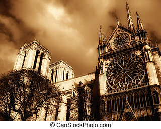 Notre-Dame Cathedral in Paris - a view of the Notre-Dame...