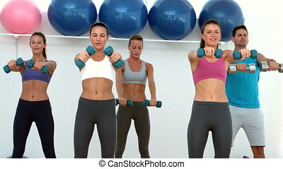 Fitness class lifting dumbbells tog