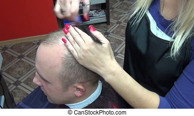 man hair cut scissors - Closeup of stylist barber woman...