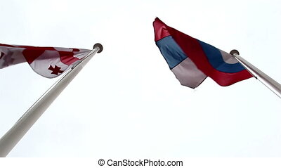 Two nations flag waving on the air
