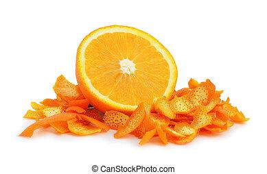 Orange dried peel. Isolated on white background.