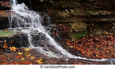 Autumn Splash Loop - Whitewater splashes down rock ledges...