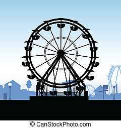 Ferris Wheel - Silhouette of a ferris wheel at a carnival.