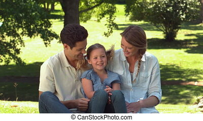Young family relaxing in the park