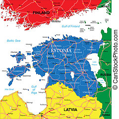 Estonia map - Highly detailed vector map of Latvia with...