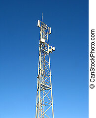 antennas - image of a pylon with antennas in a blue sky