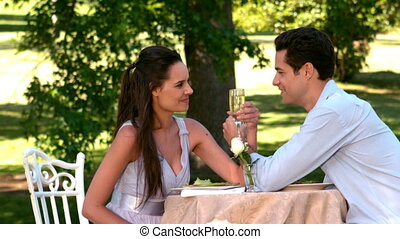 Couple having a romantic meal toget - Couple having a...