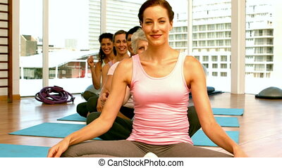 Group of women in fitness studio - Group of women in fitness...