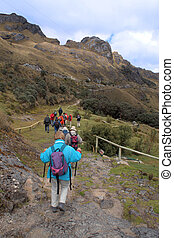 activity - trecking-Group in a mountainous area