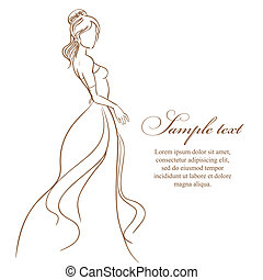 Wedding card with beautiful bride in white dress vector illustra