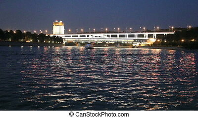 Moscow River, Luzhnetskaya Bridge Metro Bridge and promenade...