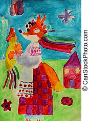 Children's drawing with fabulous fox in Ukrainian clothes -...