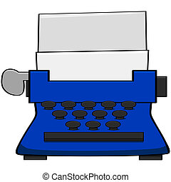 Typewriter - Cartoon illustration of an old blue typewriter