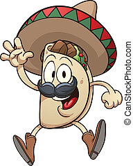Cartoon taco wearing a sombrero. Vector clip art...