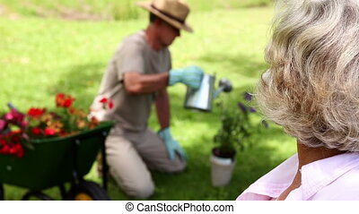 Retired woman watching her husband garden