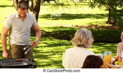 Happy family having a barbecue in the park together on a...