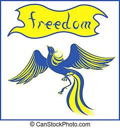 Graceful bird Phoenix symbolizing Ukraine - Graceful bird...