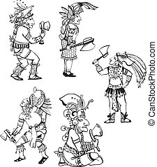 Maya characters - People characters in ancient maya style...