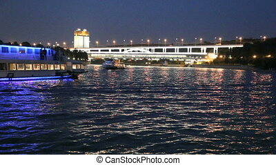 Moscow River, Luzhnetskaya Bridge (Metro Bridge) and...