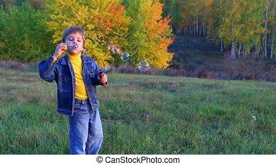 Boy with soap bubbles - Smiling boy blowing the soap bubbles...