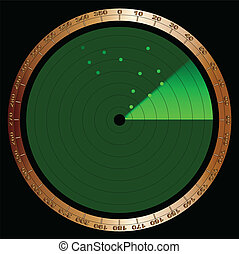 Detected - The screen of a typical radar device in green...