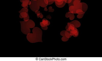 love heart tumble - Red love hearts falling through the sky