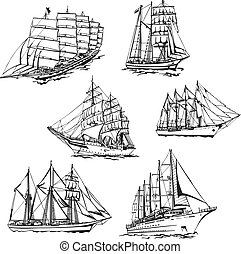 Sketches of sailings - Black and white sketches of sailing...
