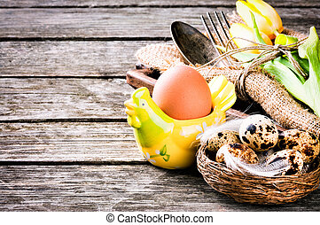 Easter table setting with quail eggs - Rustic table setting...