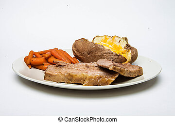 Pot Roast with Carrots and potato - This is a photograph of...