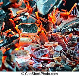 embers of charcoal - background or texture of orange embers...