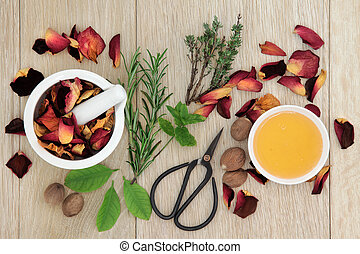 Love Potion Herbs - Love potion ingredients of herb leaf...