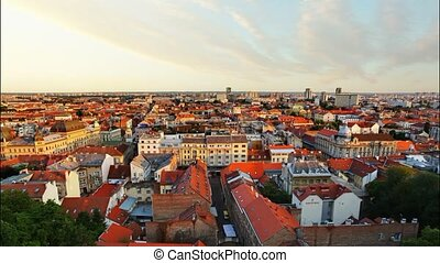 Zagreb cityspace at sunset - time l