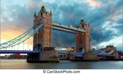 Tower Bridge in London, UK, time lapse