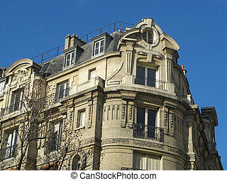 Ancient building on the grand parisian boulevards - view of...